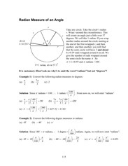 Radians sample page from the Mathematics Survival Kit
